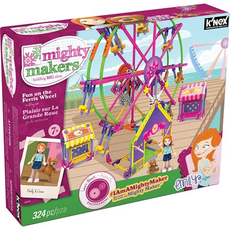 K'NEX Mighty Makers - Fun On The Ferris Wheel Building Set, Includes 324 K'NEX parts and pieces plus Mighty Makers figures and accessories By KNEX From USA Build Knex Ferris Wheel