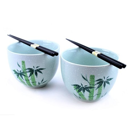 Udon Bowl (Set of 2 Porcelain Noodle Soup Bowl with 2 Pairs Bamboo Chopsticks - Perfect Bowls for Ramen Noodle Udon Noodle Rice Vietnamese Soup Cereal Pho Popcorn Oatmeal F15745)