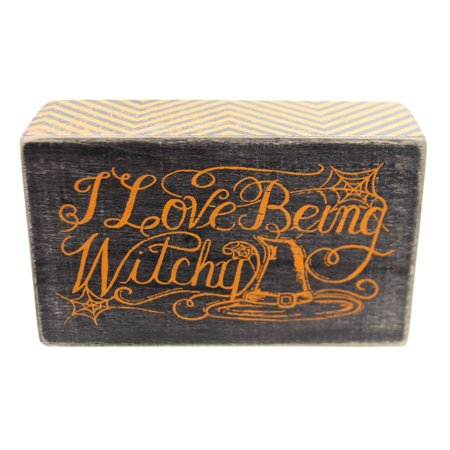 Halloween I LOVE BEING WITCHY BOX SIGN Wood Spider Web 27404 - Feeling Boxes For Halloween
