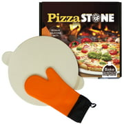 """Baking Pizza Stone with handles for Grill, Oven & BBQ15"""" Durable, Certified Safe, for Ovens & Grills. Bonus Silicone Mitt."""