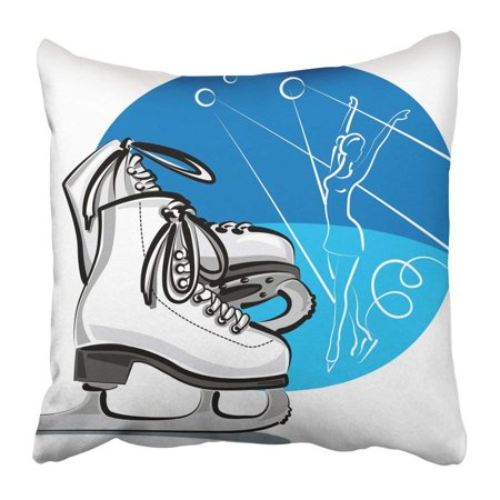 ARTJIA Blue Blade of White Female Figure Skates Boots Hobby Ice Pair Rink Shoe Skating Pillowcase Pillow Cover 16x16 inches