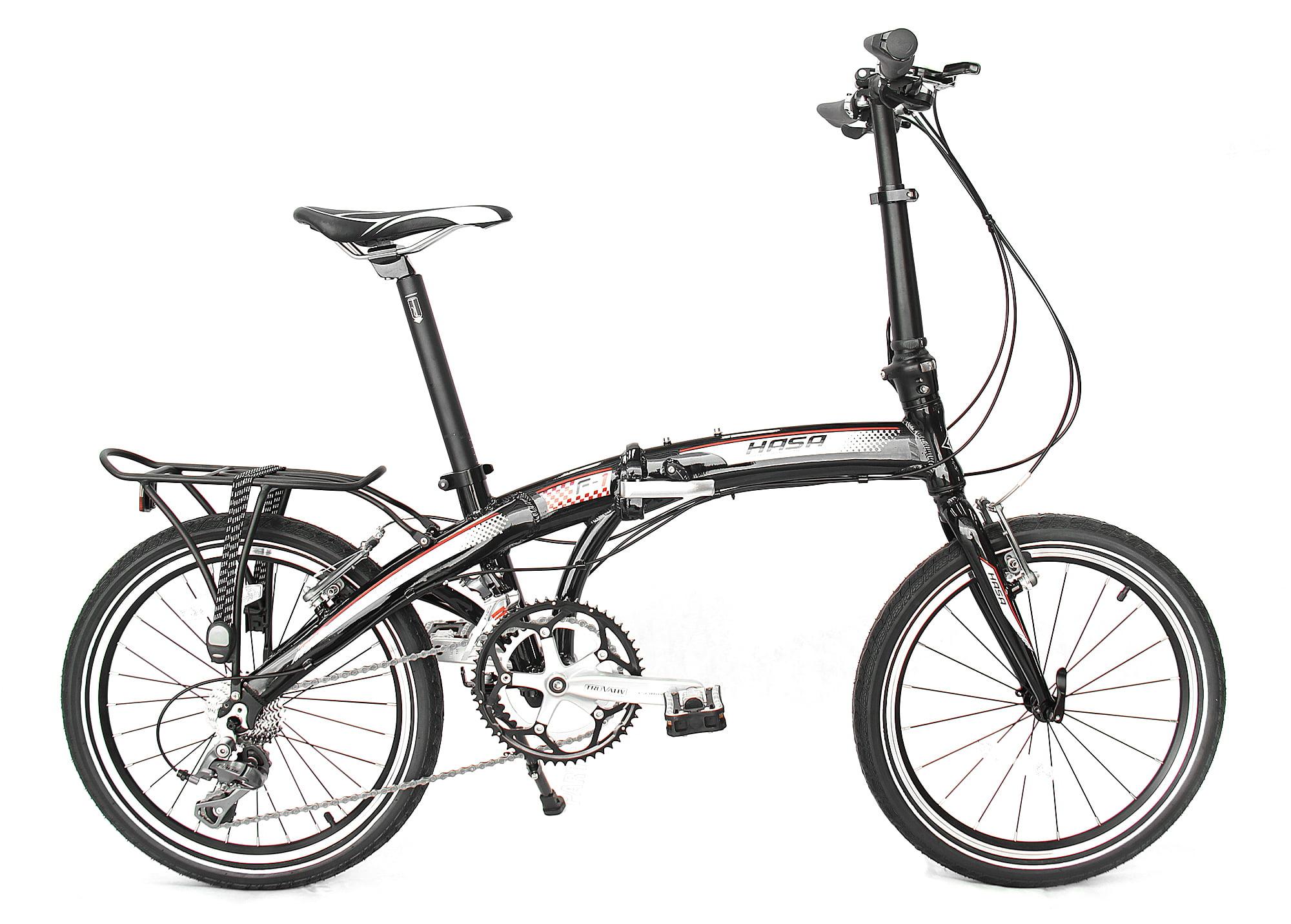 hasa folding foldable bike shimano 16 speed black