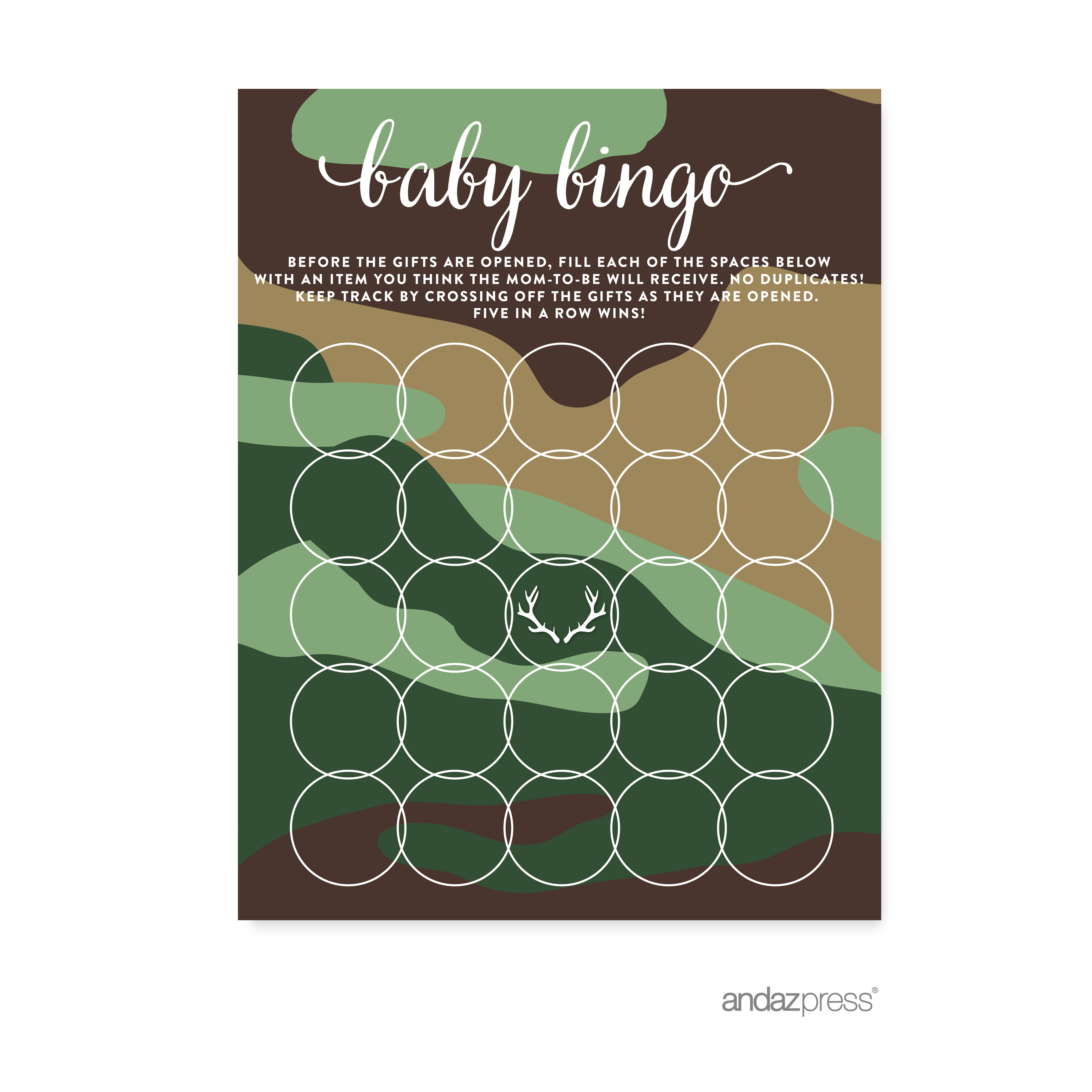 Baby Bingo Green Woodland Camouflage Boy Baby Shower Game, 20-Pack