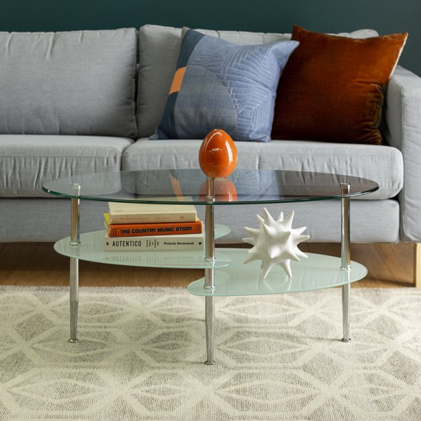 Walker Edison Mid-Century Modern Oval Glass Coffee Table
