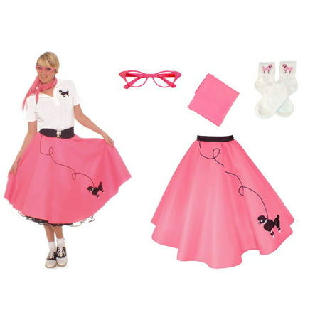 Adult 4 pc - 50's Poodle Skirt Outfit - Hot Pink / (50's Costumes Plus Size)