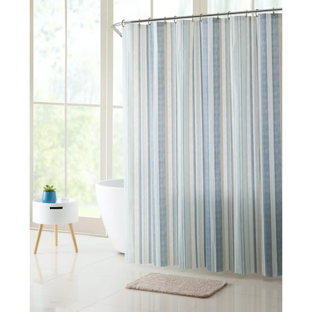 VC New York Blue Francisco Stripe 14 Piece Shower Curtain Bath Rug Set Hooks And Included