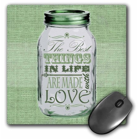 3dRose Mason Jar on Burlap Print Green - The Best Things in Life are Made with Love - Gifts for the Cook, Mouse Pad, 8 by 8