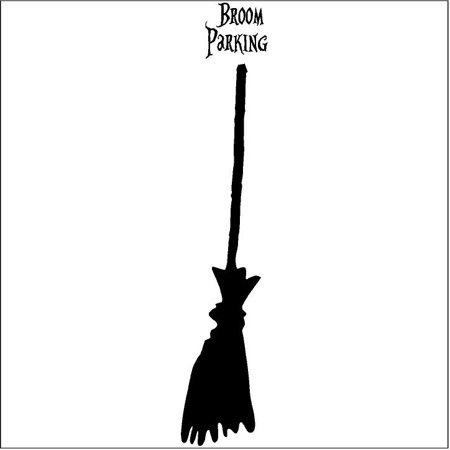 Halloween Witch Broom #2 vinyl lettering wall decal quote sticker (48x10)