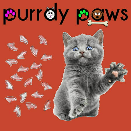 Soft Claws Nail Caps - 6 Month Supply - Purrdy Paws Clear Soft Nail Caps for Medium Cats Claws - Extra Adhesives