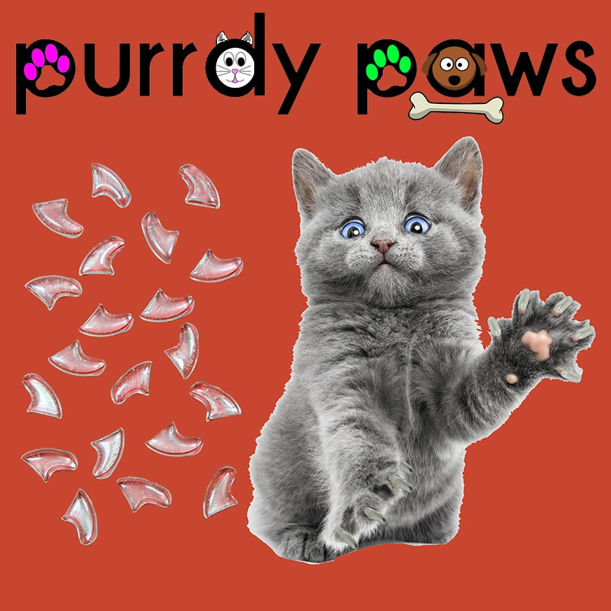 6 Month Supply - Purrdy Paws Clear Soft Nail Caps for Medium Cats Claws - Extra Adhesives
