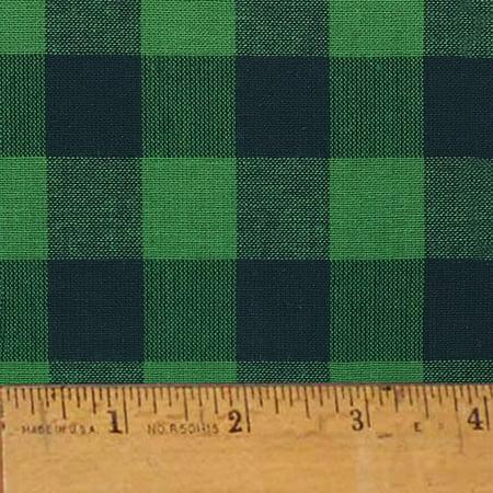 Green Buffalo Check Plaid Homespun Cotton Fabric Sold by the Yard - JCS Fabric (Green Plaid Fabric)