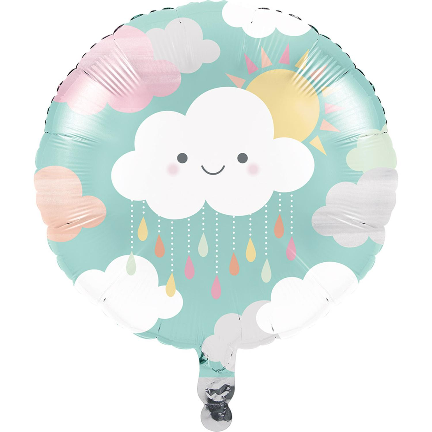 """Club Pack of 10 Blue and White Sunshine Baby Showers Metallic Foil Party Balloons 18"""""""