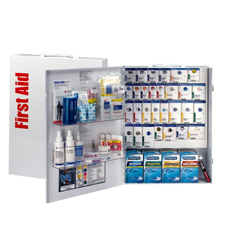 First Aid Textbook - First Aid Only 150 Person XL SmartCompliance Metal Cabinet with Medication, 109 pc