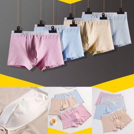 Hot Sell Men Cotton Breathable Underwear Boxer Briefs Shorts Bulge Pouch Underpants Blue Pink Grey Khaki