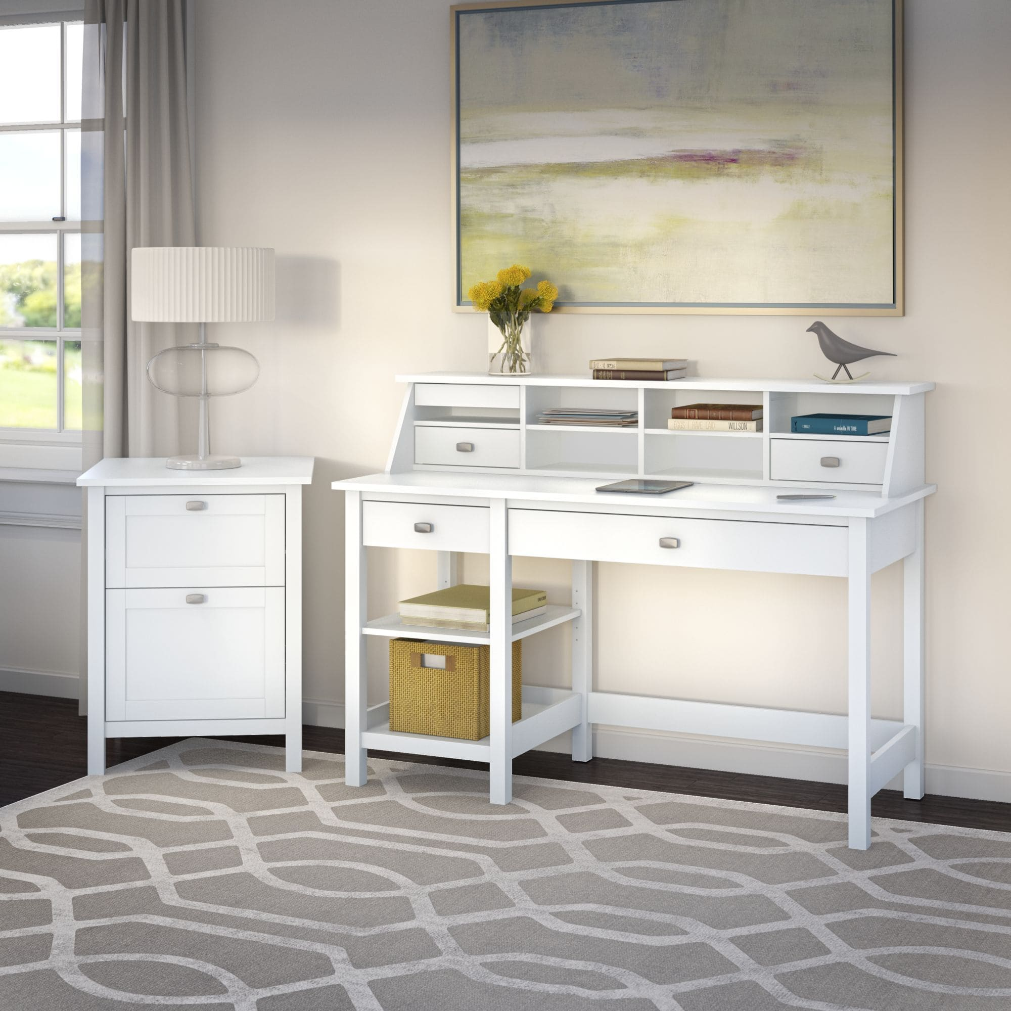 Bush Furniture Broadview Pure White Computer Desk with Open Storage, Organizer and File Cabinet
