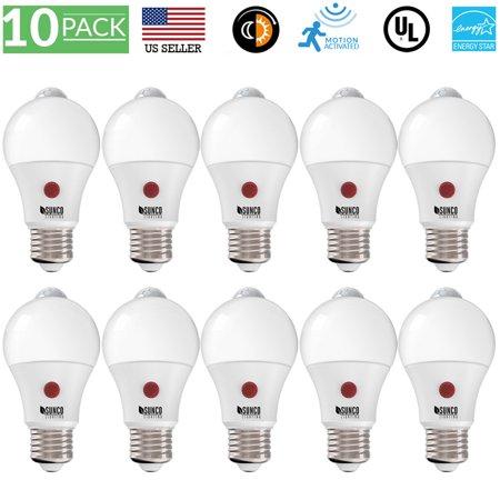 Sunco Lighting 10 Pack LED Dusk to Dawn Motion Sensor A19 LED Light Bulb 9W 2700K, Soft