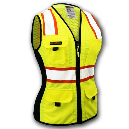 KwikSafety FIRST LADY Class 2 Safety Vest for Women ANSI Surveyor Yellow Small Class 1 Safety Vest