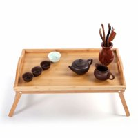 Akoyovwerve Breakfast in Bed Trays,Folding Medical Bed Trays with Legs Simple Bamboo Dinner Table Wood Color