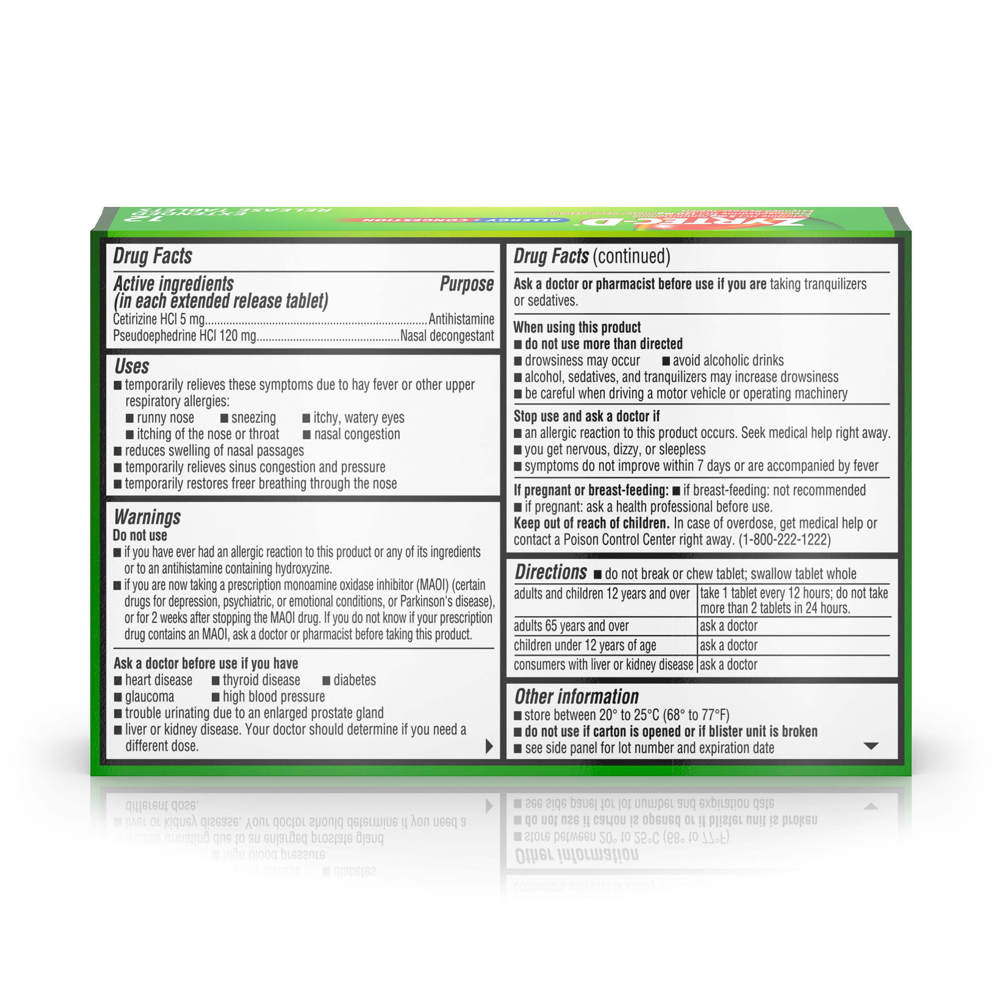 Zyrtec D 12 Hour Allergy Medicine Nasal Decongestant Tablets 12