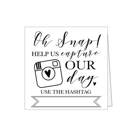 25 Black and White Wedding Instagram Hashtag Signs, Vintage Table Top Place Cards or Photo Booth Oh Snap Sign, Quotes for Wedding, Wedding Reception or Ceremony Decor - Wedding Ceremony Decor