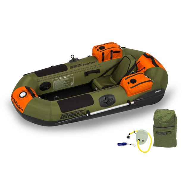 Sea Eagle PackFish7 Deluxe Frameless Inflatable Angler Kayak Fishing Boat, Green