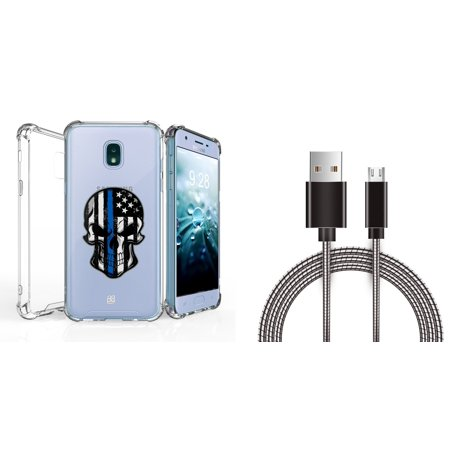 AquaFlex Shock Bumper Design Protection Phone Cover Case (Thin Blue Line Skull) with Metal Micro USB Cable (3 Feet) and Atom Cloth for Samsung Galaxy J7, J7 V 2nd Gen