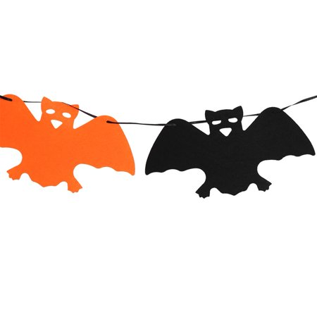HERCHR Happy Halloween Fabric String Banner Hanging Bunting Flag Garland Decor Party Ornaments(#5), Hanging Flag, String Banner, 9.84in Halloween Non-woven Color Flag (5# bat models)