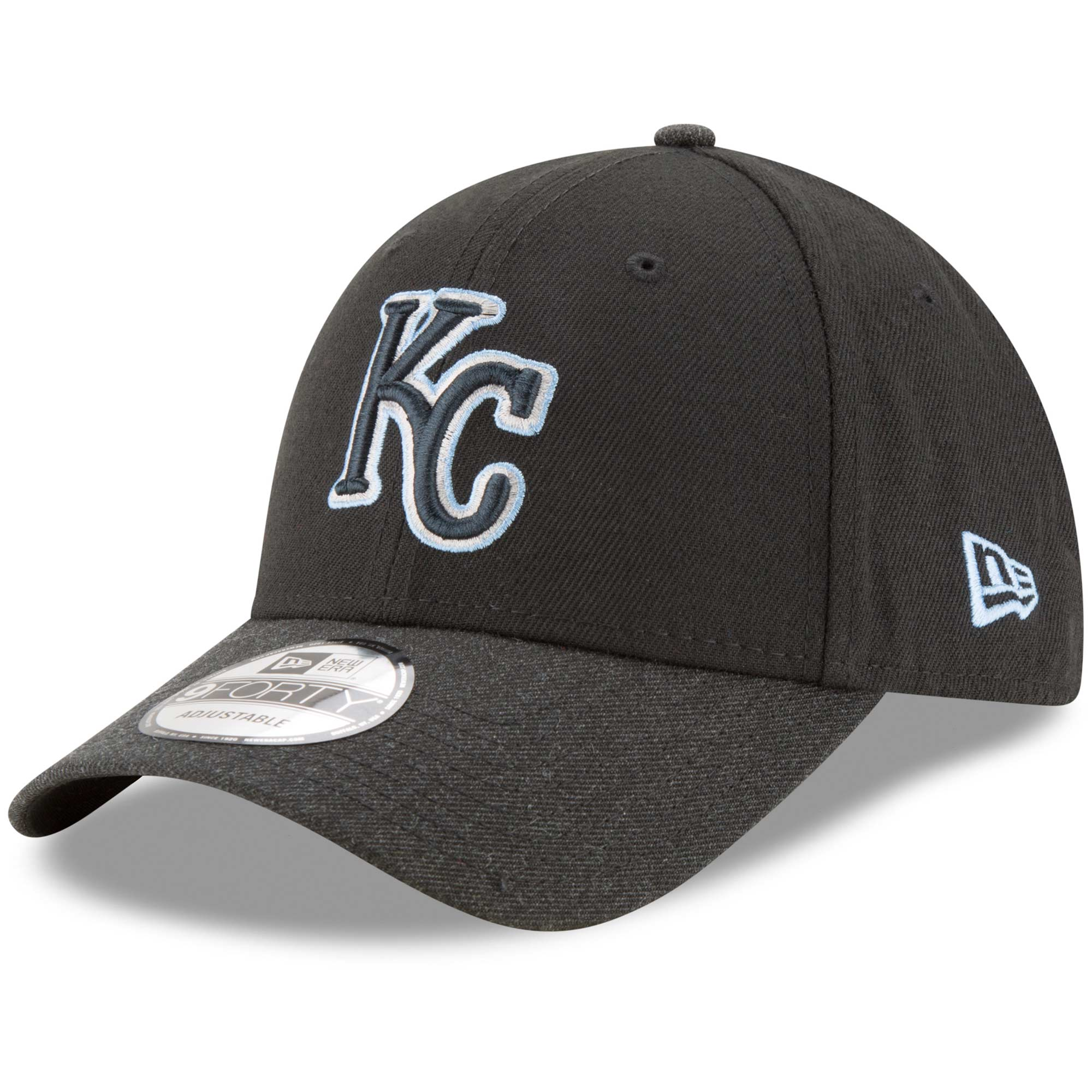 Kansas City Royals New Era The League 2 9FORTY Adjustable Hat - Black/Heathered Black - OSFA