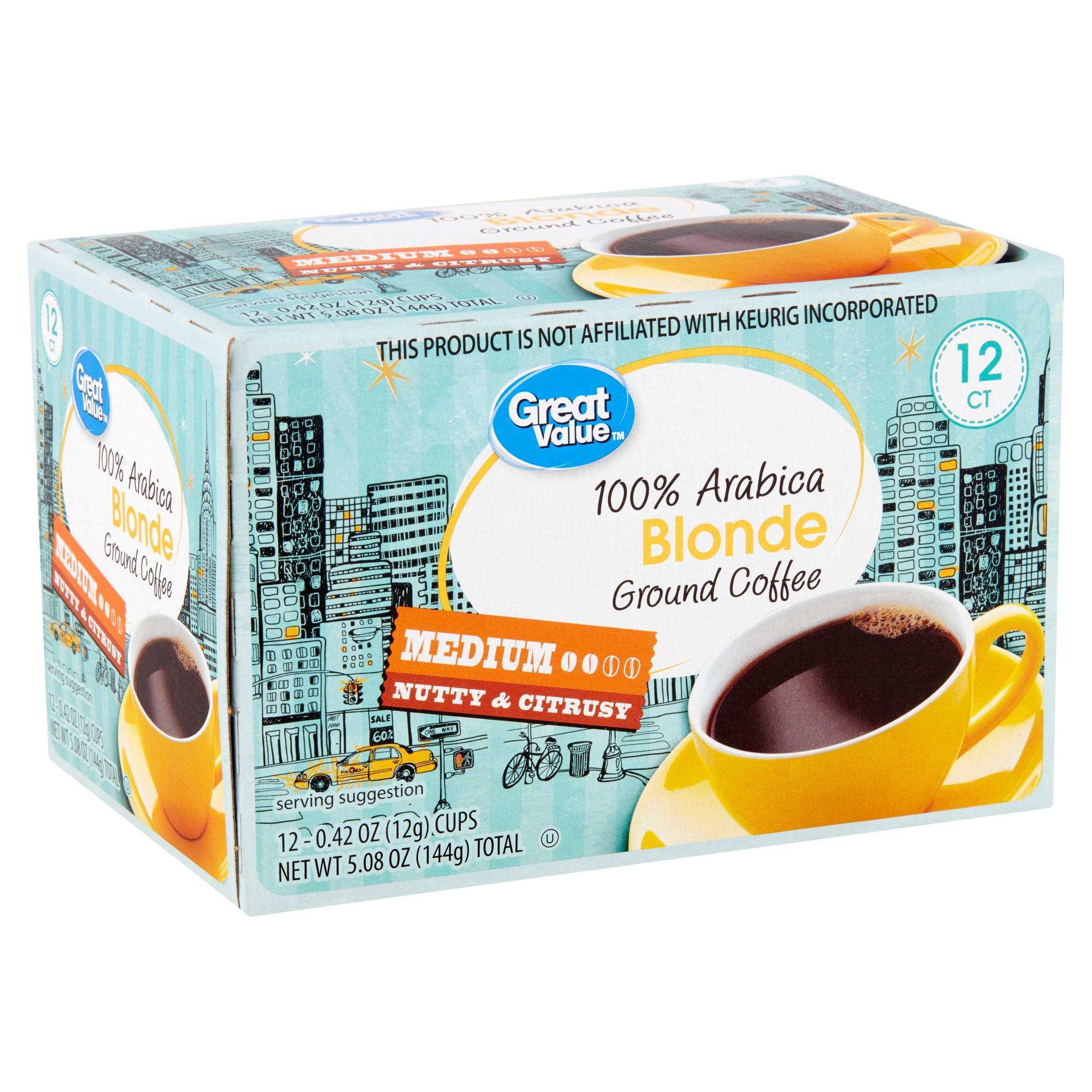 Great Value 100% Arabica Blonde Medium Ground Coffee, 0.42 oz, 12 count