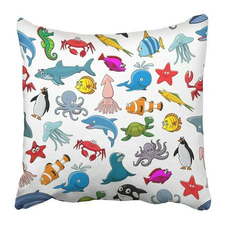 Diamond Clown Fish (ARTJIA Sea and Ocean Animals of Clown Fish and Butterflyfish Starfish and Jellyfish Dolphin Shark Whale Pillowcase 16x16 inch )