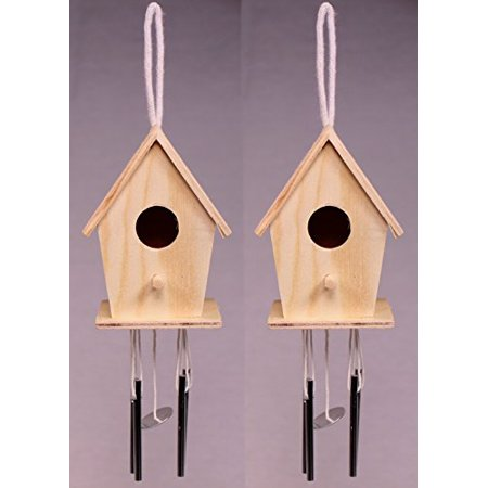 Image of Creative Hobbies® Mini 4 Inch Tall Birdhouse Windchimes, Set of 2, Unfinished Wood Ready to Paint or Decorate