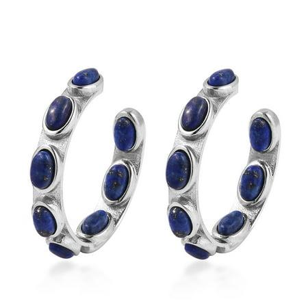 Inside Out J-Hoops Hoop Earrings for Women 8 Stone Lapis Lazuli Blue Gemstone Stainless Steel Hypoallergenic Gift Jewelry 24mm - Lapis Post Earrings