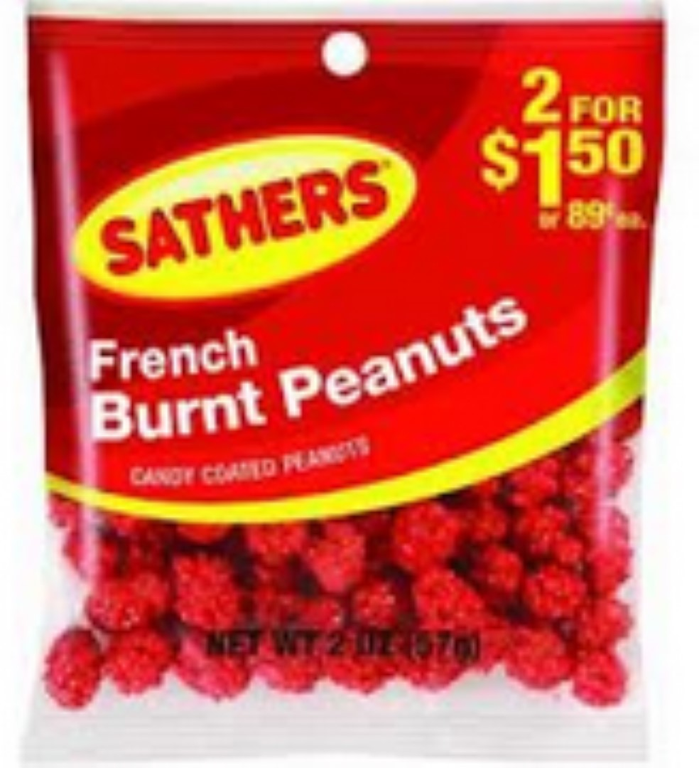 Sathers French Burnt Peanuts 12 pack (2oz per pack) (Pack of 4)