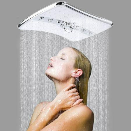 - Shower Shower Head 4 Setting Multi-Function Bathroom Rectangular Waterfall Rainfall Abs Chrome Jet Shower Head Handheld Wand Combo Chrome&White