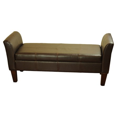 Leather Storage Bench With Arms