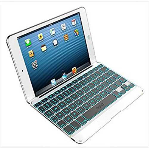 ZAGG Cover Backlit Bluetooth Keyboard for Apple iPad mini 1 and iPad mini 2 - White