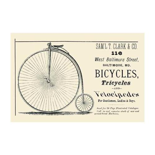 Bicycles, Tricycles, And Velocipedes Print (Unframed Paper Print 20x30)