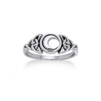 Sterling Silver Celtic Trinity Knot and Crescent Moon - Celtic Crescent Moon Knot