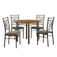 Dorel Living Dawson 5-Piece Dining Set, Dining Room Furniture, Bronze, Dark Walnut