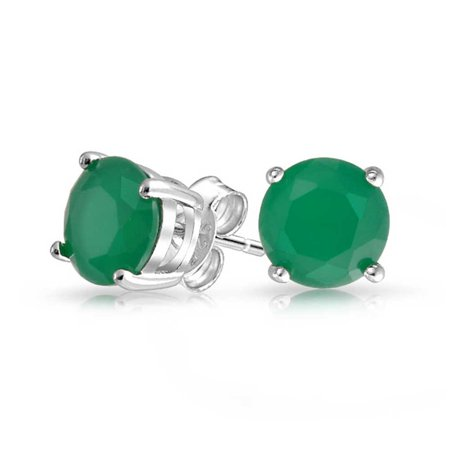 1Ct Green Round Brilliant Cut Solitaire AAA CZ Stud Earrings For Women 925 Sterling Silver Simulated Jade -