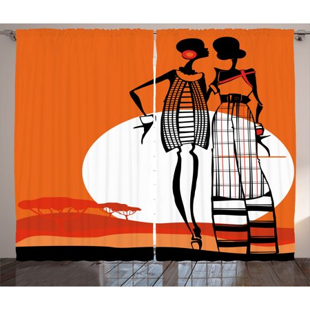 African Curtains 2 Panels Set, Desert Sunset Scenery Fashionable Stylish African Women with Trees Picture, Window Drapes for Living Room Bedroom, 108W X 84L Inches, White Orange Black, by Ambesonne ()