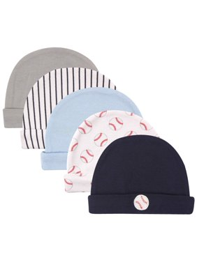 Luvable Friends Baby Boy Caps, 5-Pack