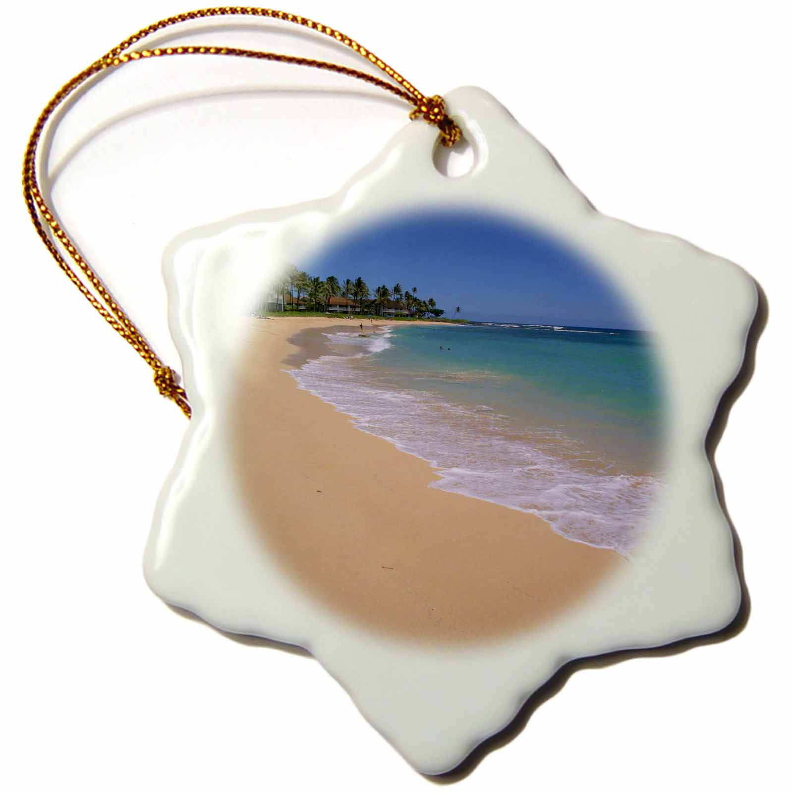 Supplier Generic 3d Rose Poipu Beach, Poipu, Kauai, Hawaii, Usa  -  Us 12 Dpb 1241  -  Douglas Peebles, Snowflake Ornament, Porcelain, 3 - inch