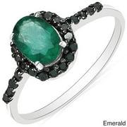 Malaika  10k White Gold Gemstone and 1/4ct TDW Black Diamond Ring