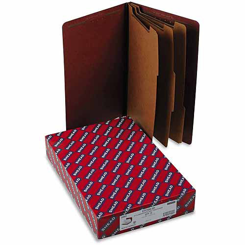 Smead Pressboard End Tab Classification Folders, Legal, Eight-Section, Red, 10/Box