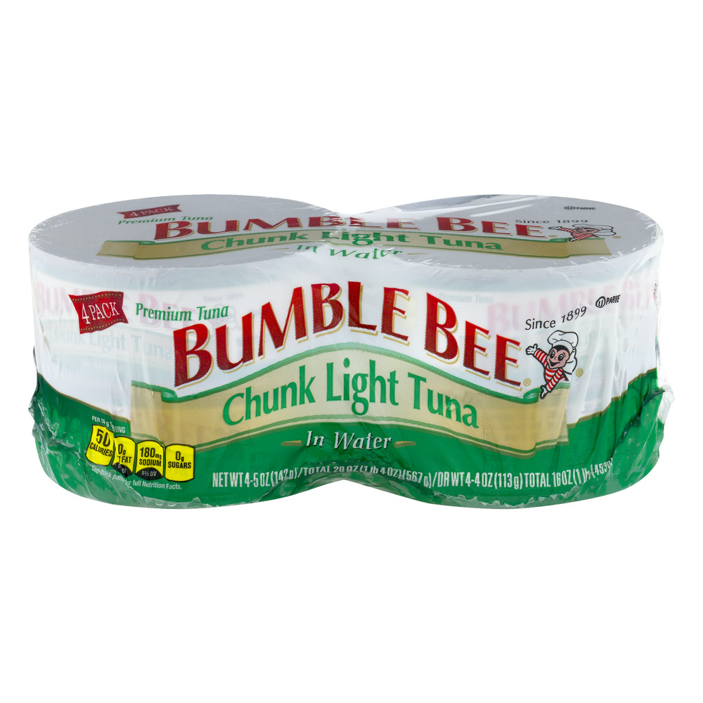 Bumble Bee Chunk Light Tuna in Water, Canned Tuna Fish, High Protein Food, 5oz Can, Pack of 4