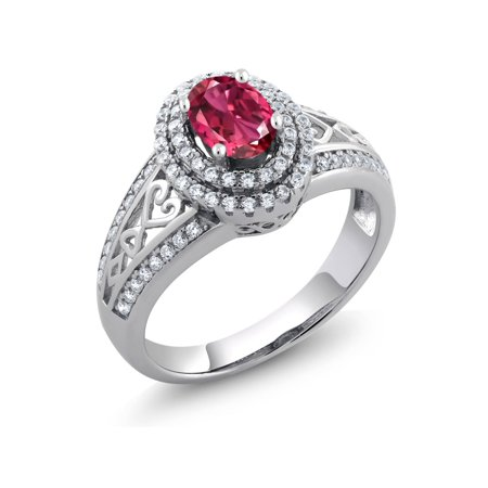 1.24 Ct Oval Pink Tourmaline 925 Sterling Silver Ring