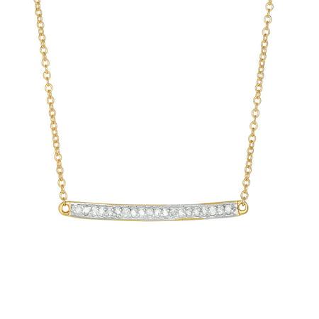 14K Yellow Gold Shiny Bar Necklace 18