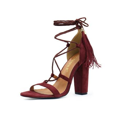 (Unique Bargains Women's Chunky High Heel Tassel Closure Lace Up Sandals)