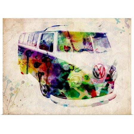 Great BIG Canvas | Rolled Michael Tompsett Poster Print entitled Camper Van Urban Art